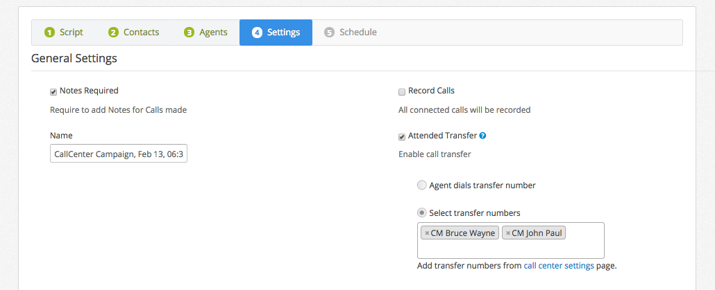 Add transfer number to call center campaign
