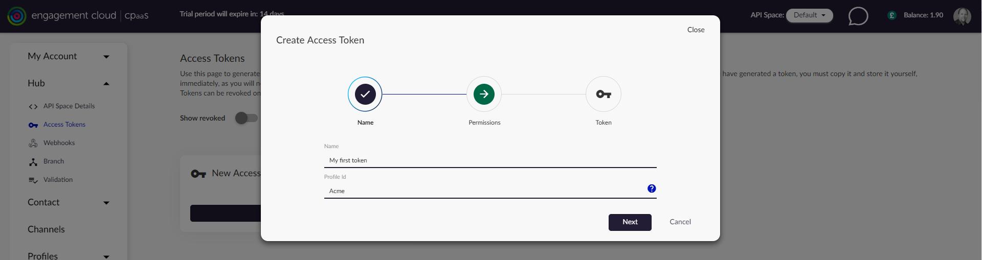 Creating an access token