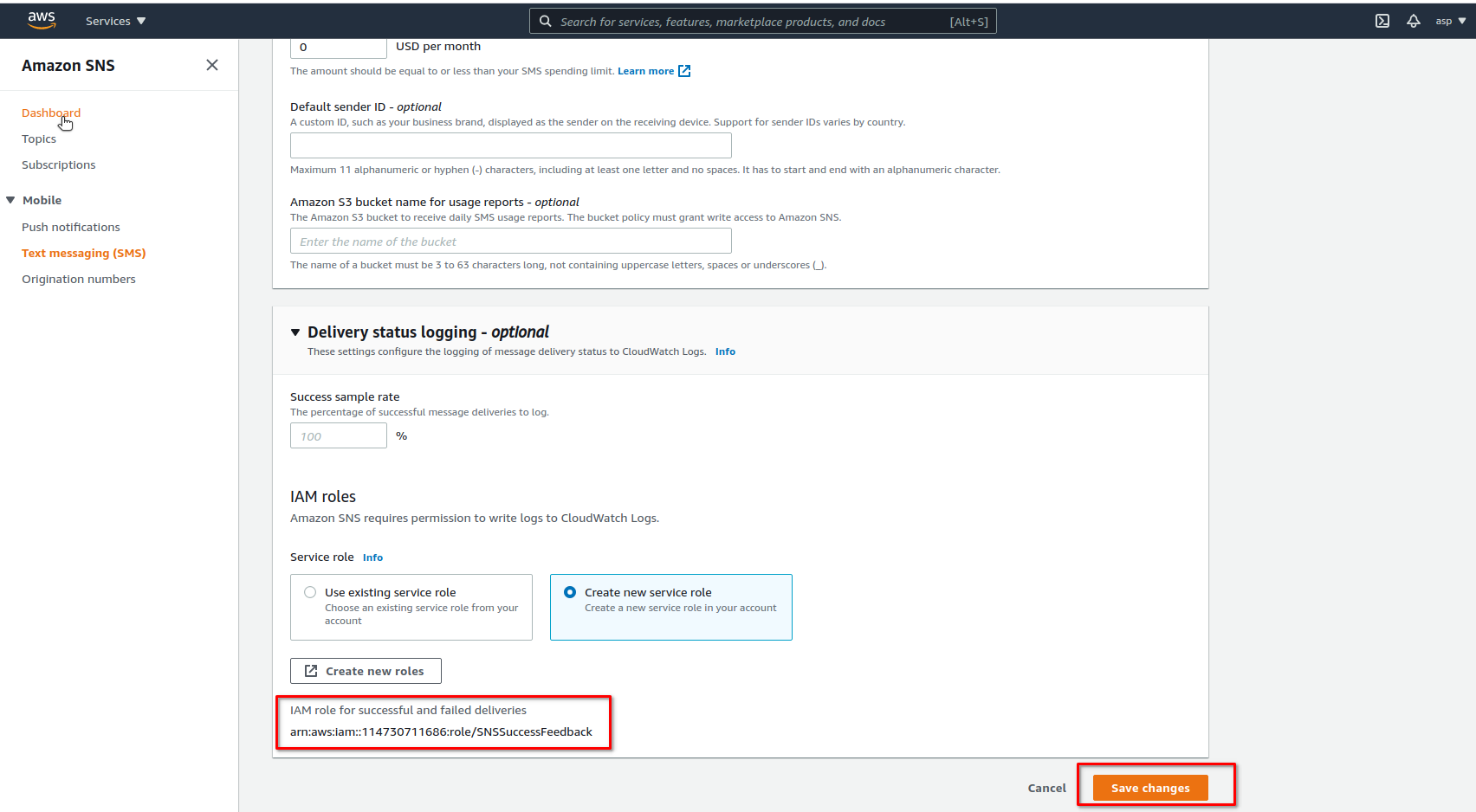 AWS SNS Console - Save changes