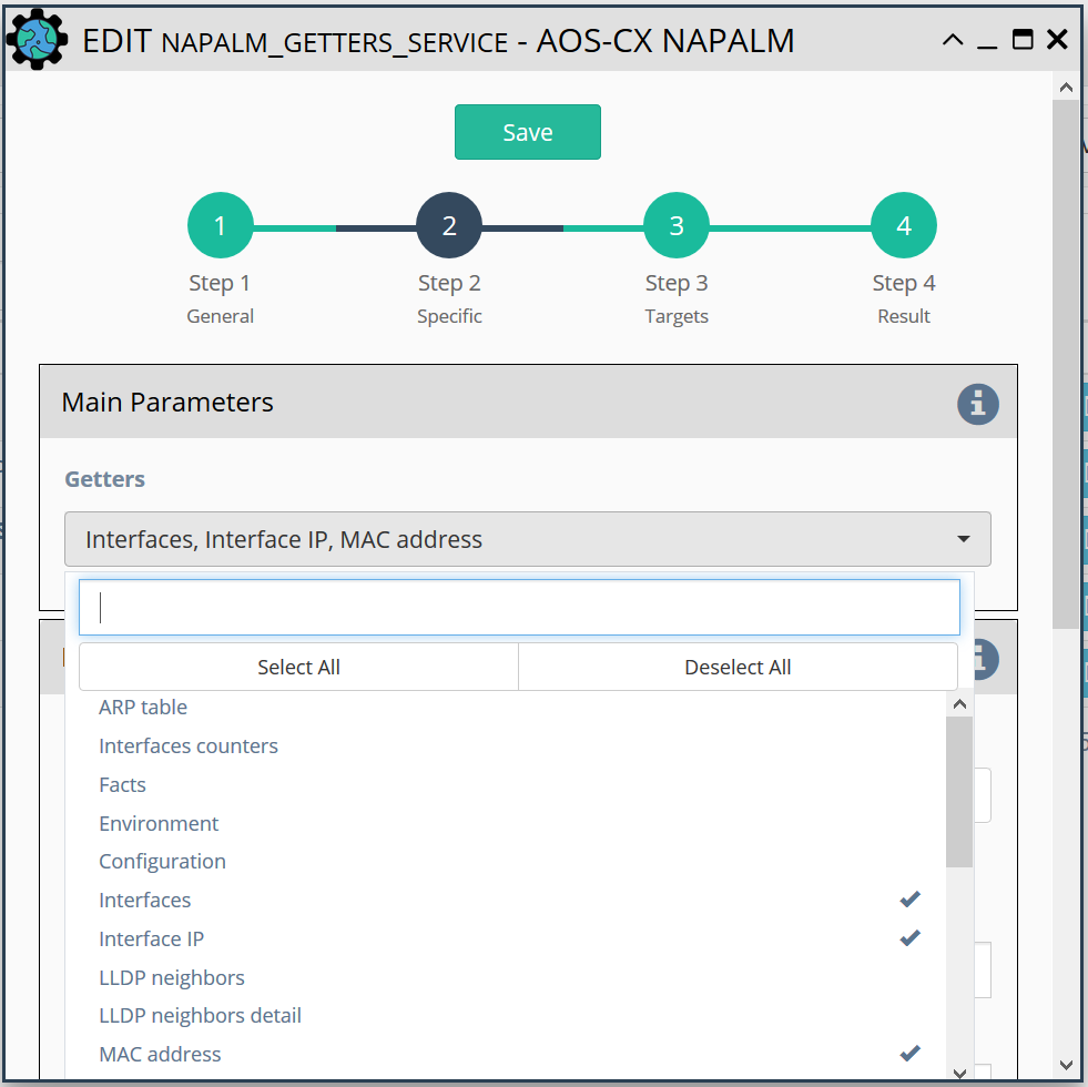 Specify the NAPALM methods