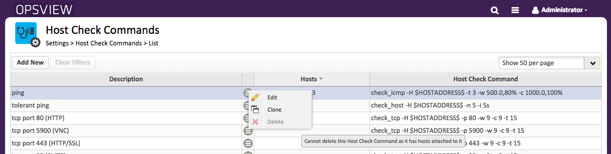 Host Check Command with 'Delete' button disabled