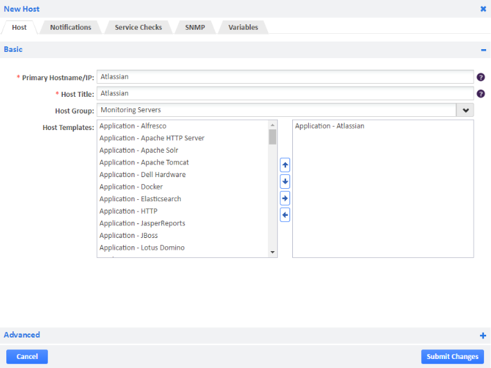 Example of Atlassian Host Template.