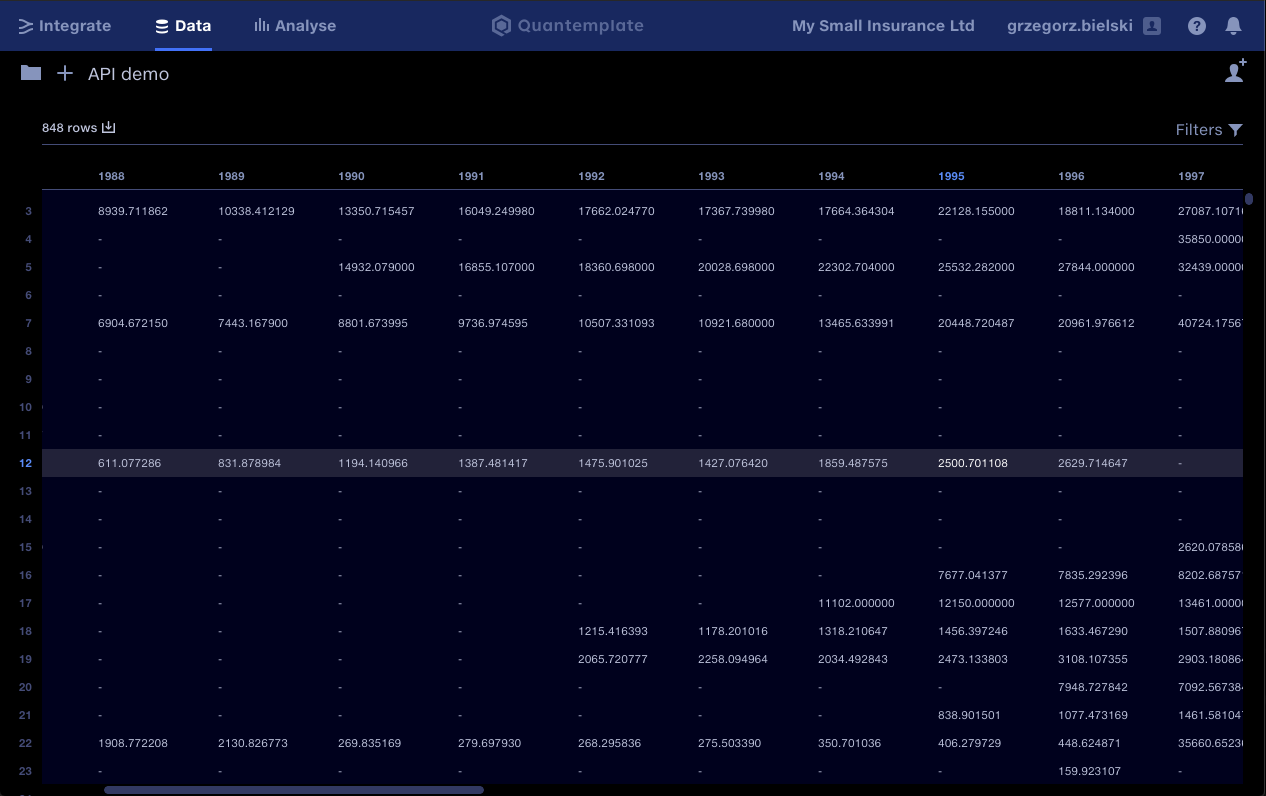 Capital IQ data uploaded using the Quantemplate API integration