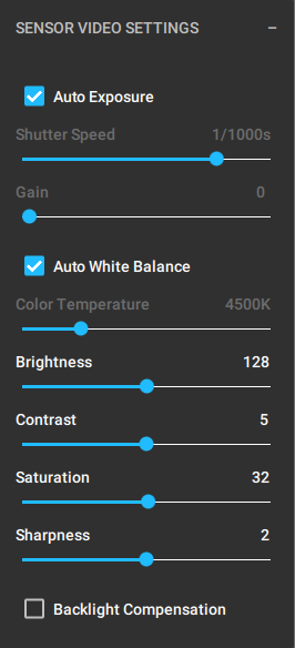 Set your exposure to auto, or adjust your exposure time and gain settings to properly expose your scene.