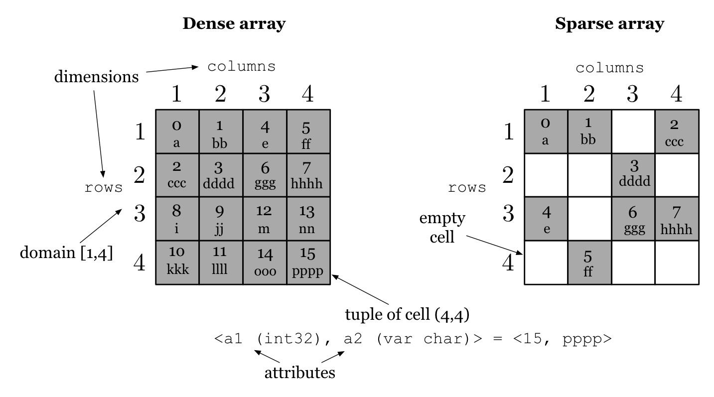 Figure 1: Dense and sparse array example