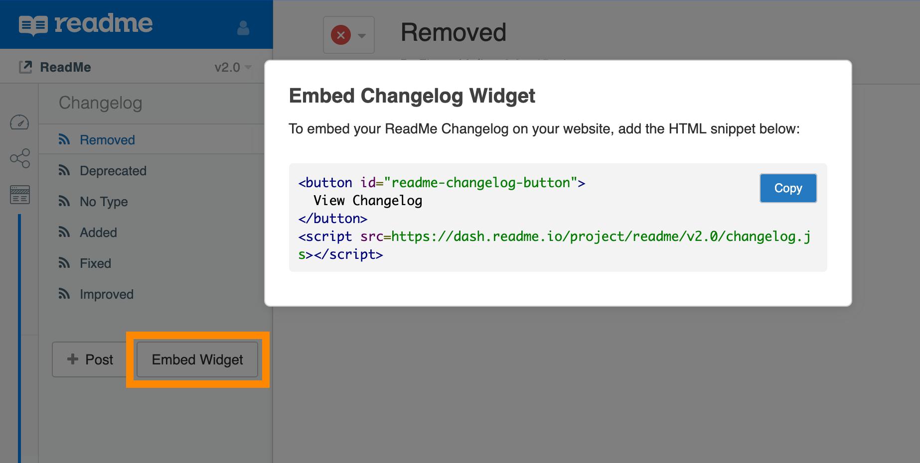 Navigate to **Documentation > Changelog > Embed Widget**