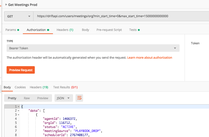Example API call for getting meetings from start time 0 (which pulls up to 30 days ago) to the provided max timestamp.