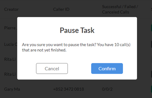 Pause a Call Task