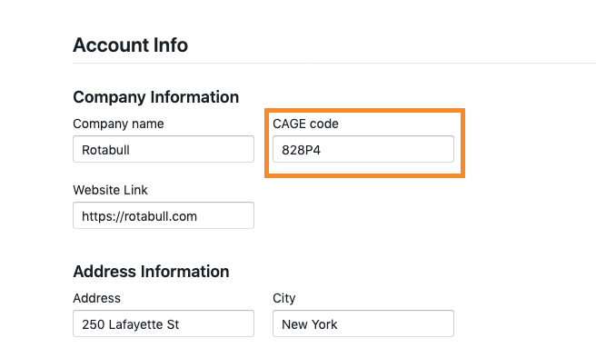 CAGE code in Rotabull settings