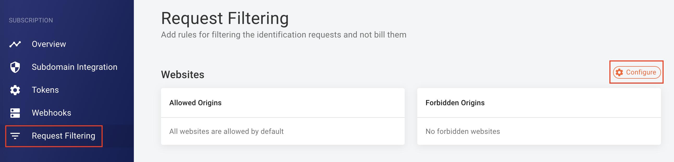Screenshot of how to configure request filtering in the FingerprintJS dashboard