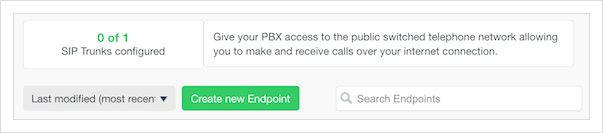 Click on the green 'Create new Endpoint' button.