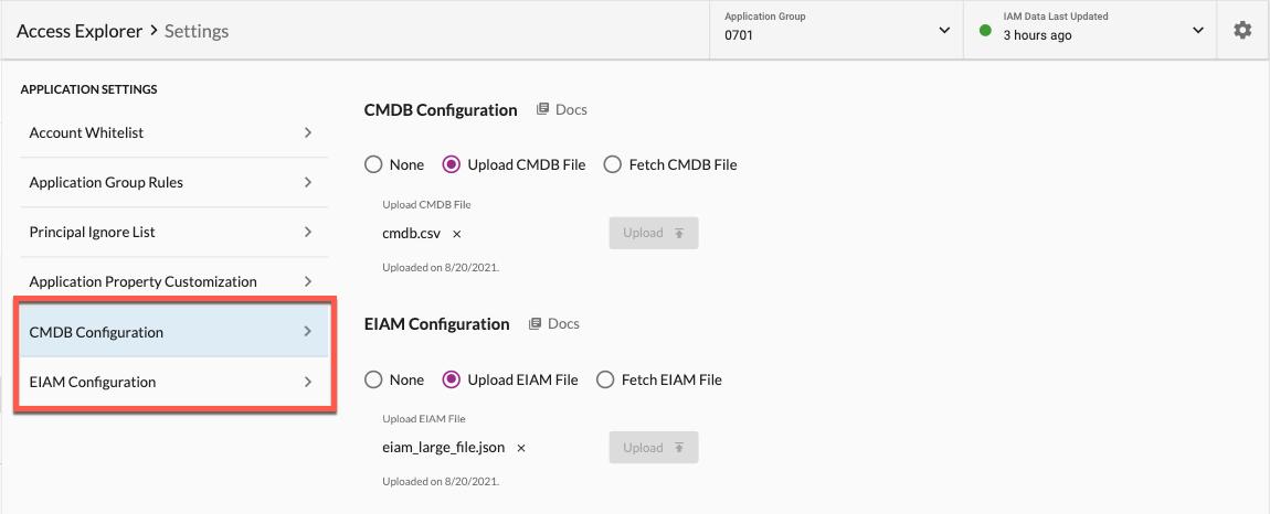 CMDB & EIAM Configurations