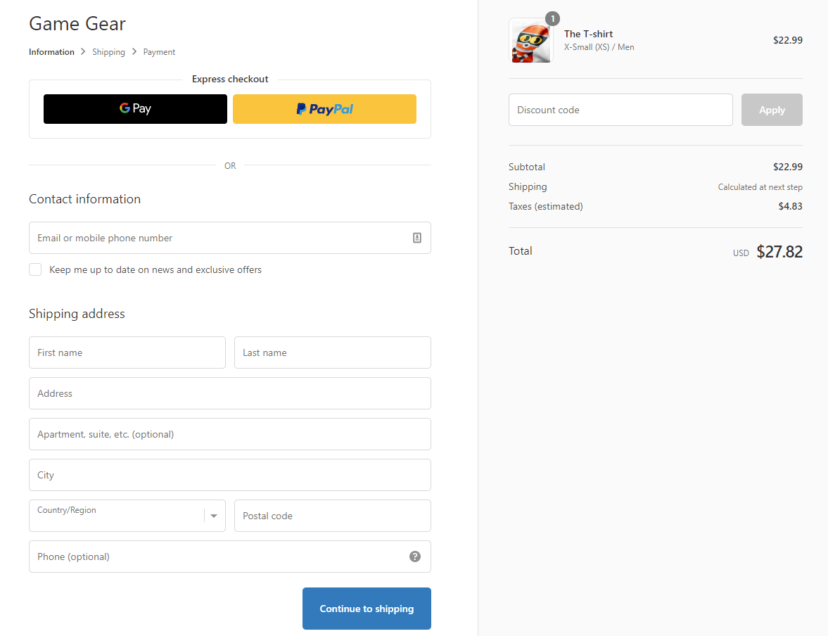 Example of webUrl checkout form.