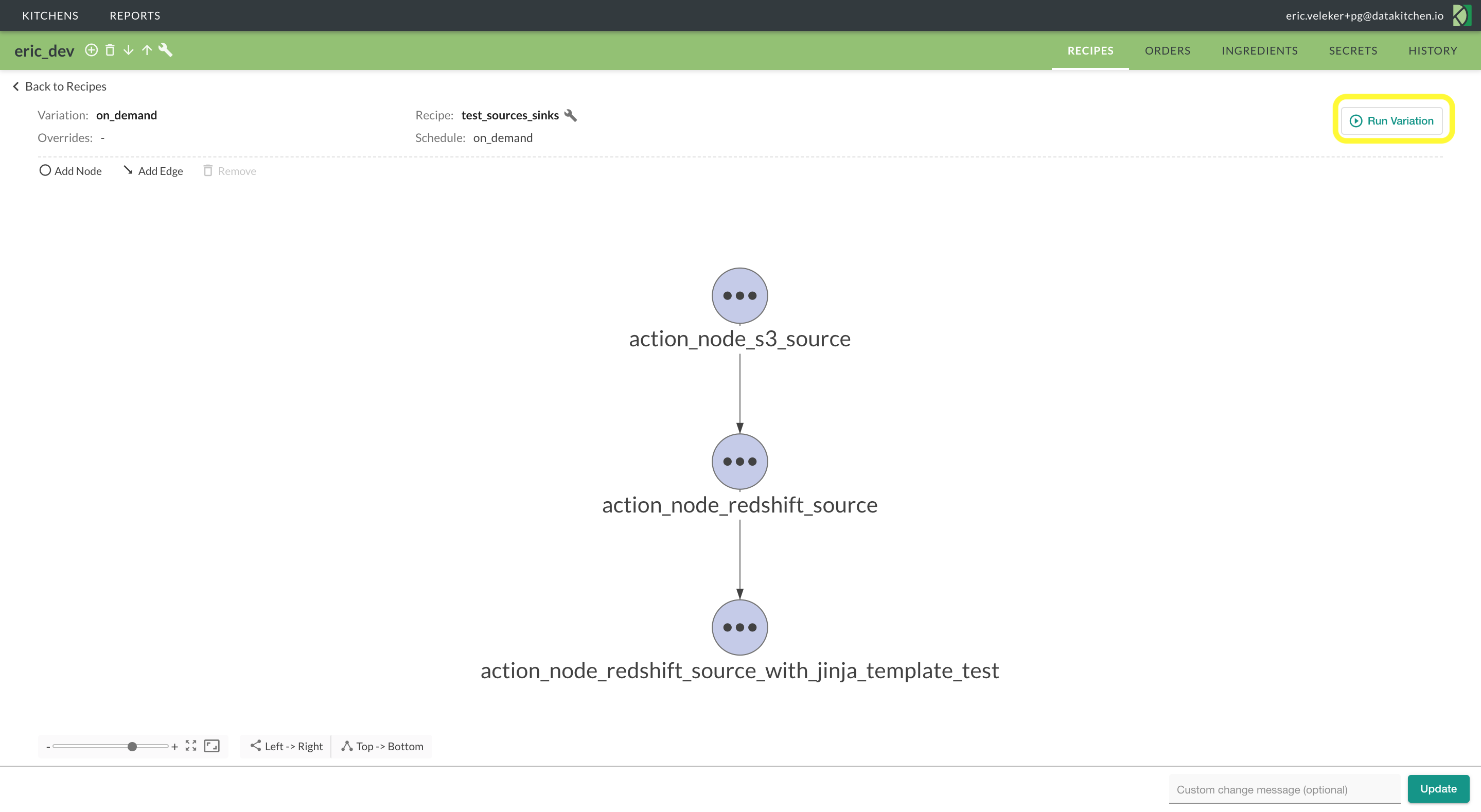 Run an order from the variation graph view.