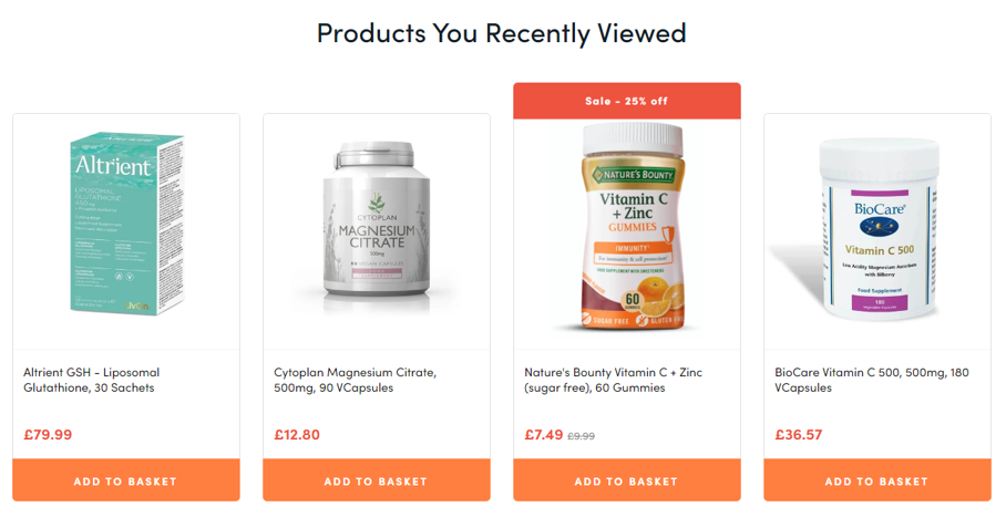 Recommendations displayed with multiple product card elements.