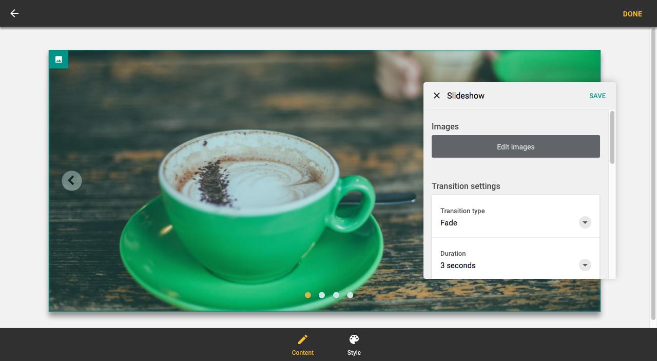 Slideshow settings panel