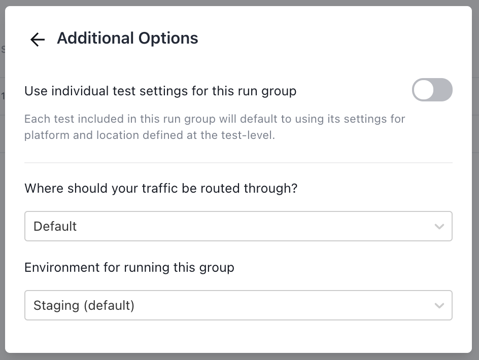 The Additional Options modal.
