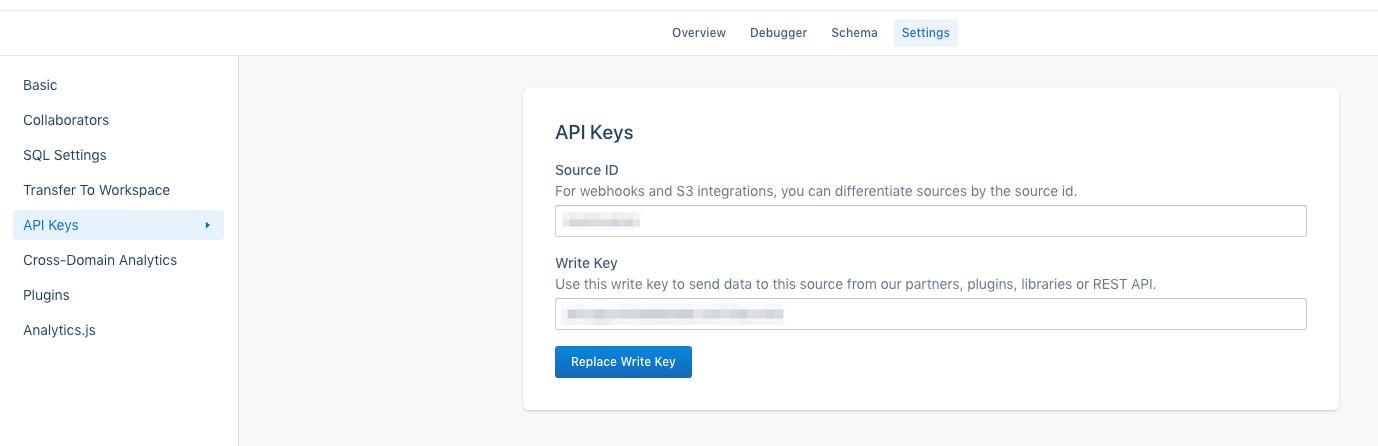 The API Keys section of Segment's UI.