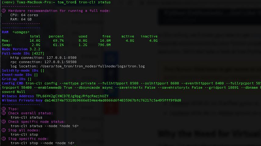 Checking TRON-CLI overall node status