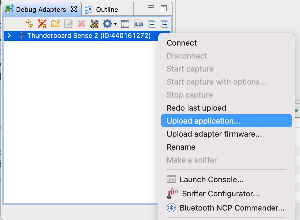 Simplicity Studio 5 IDE Debug Adapters window