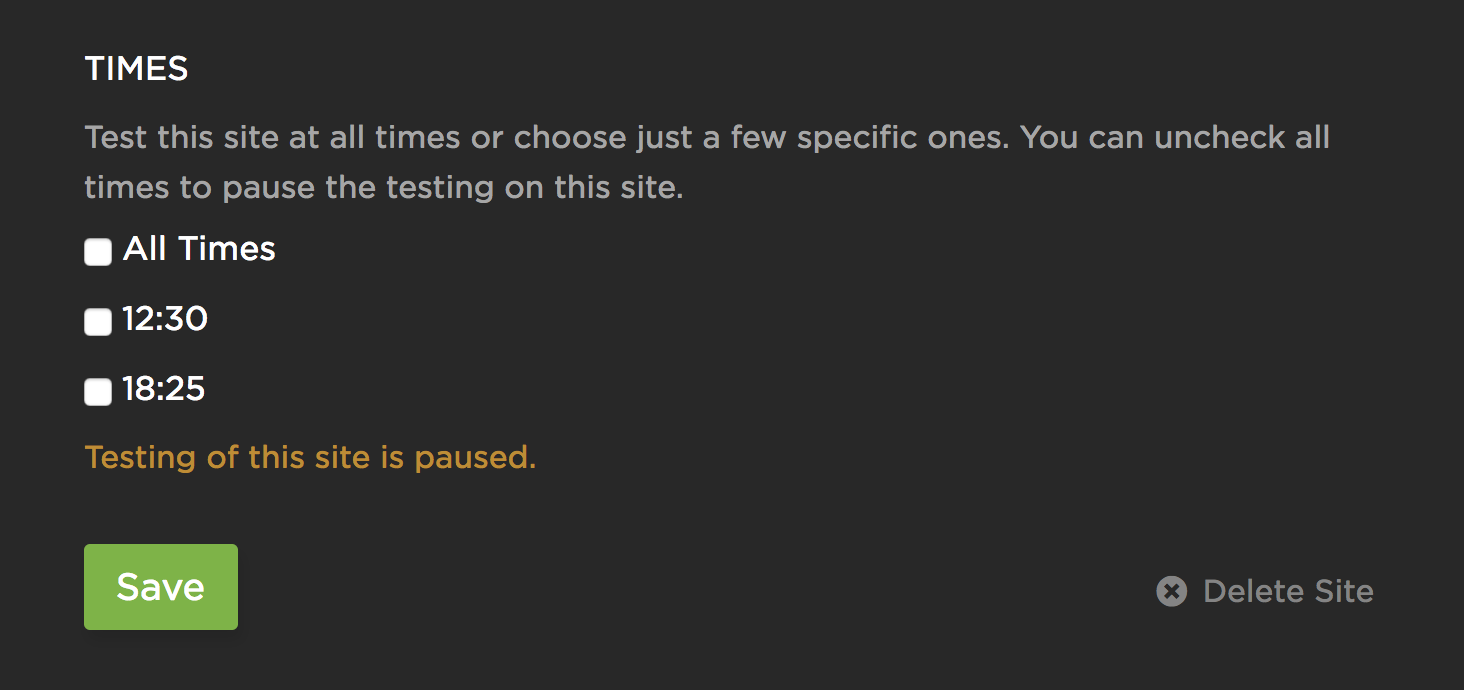 Pausing a check by deselecting all test times