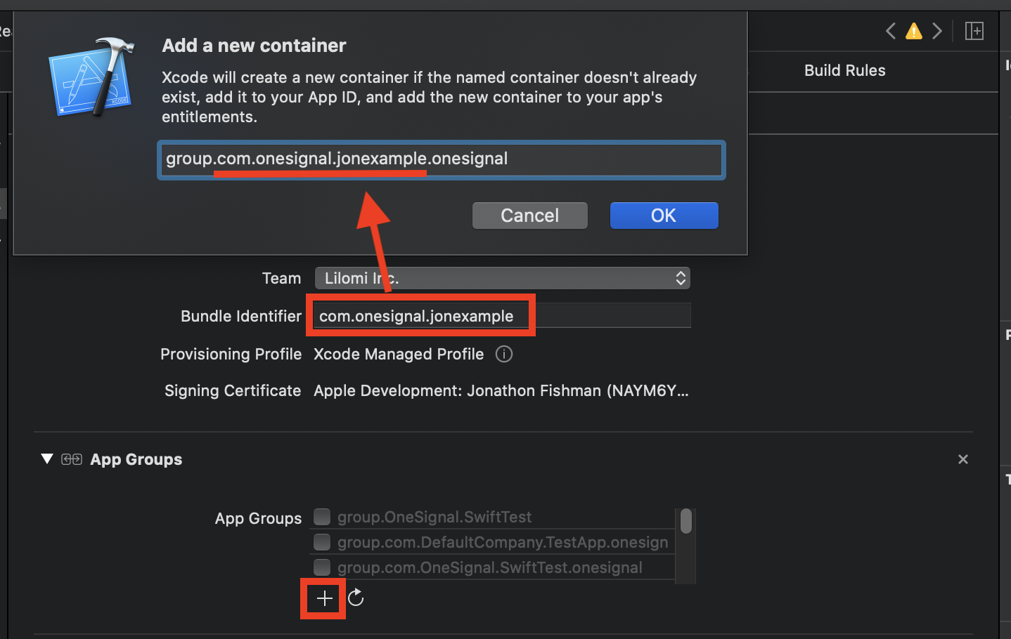 Instructions to add push notifications capability