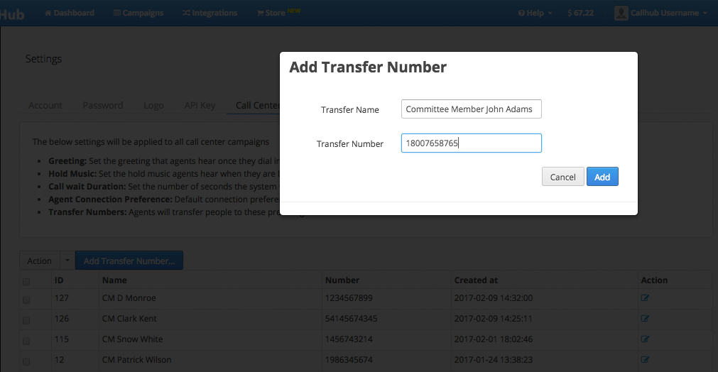 Add a transfer number