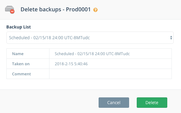 Step 2: Select a backup to delete