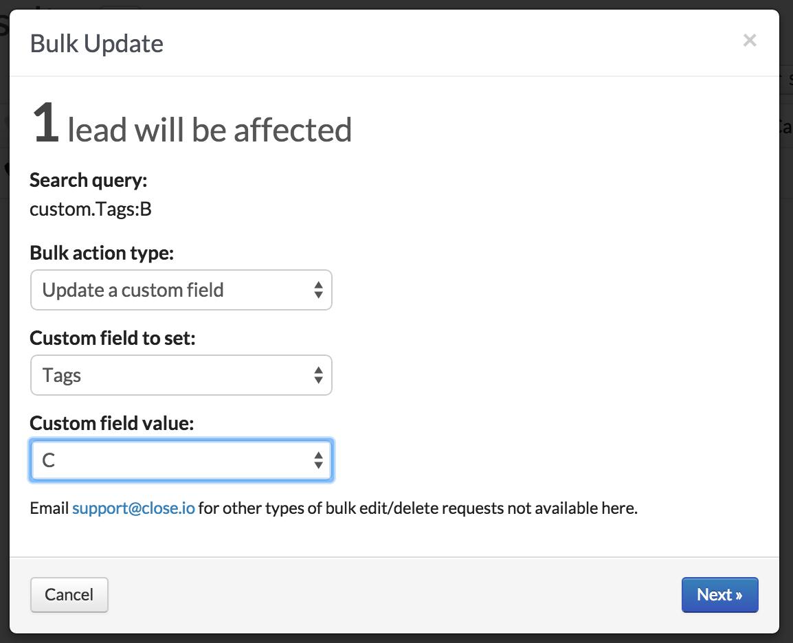 Bulk updating leads, part 2.