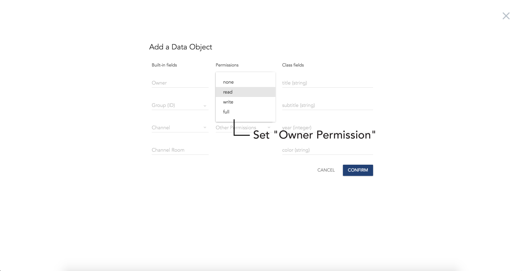 permissions · documentation syncano permission types for data objects