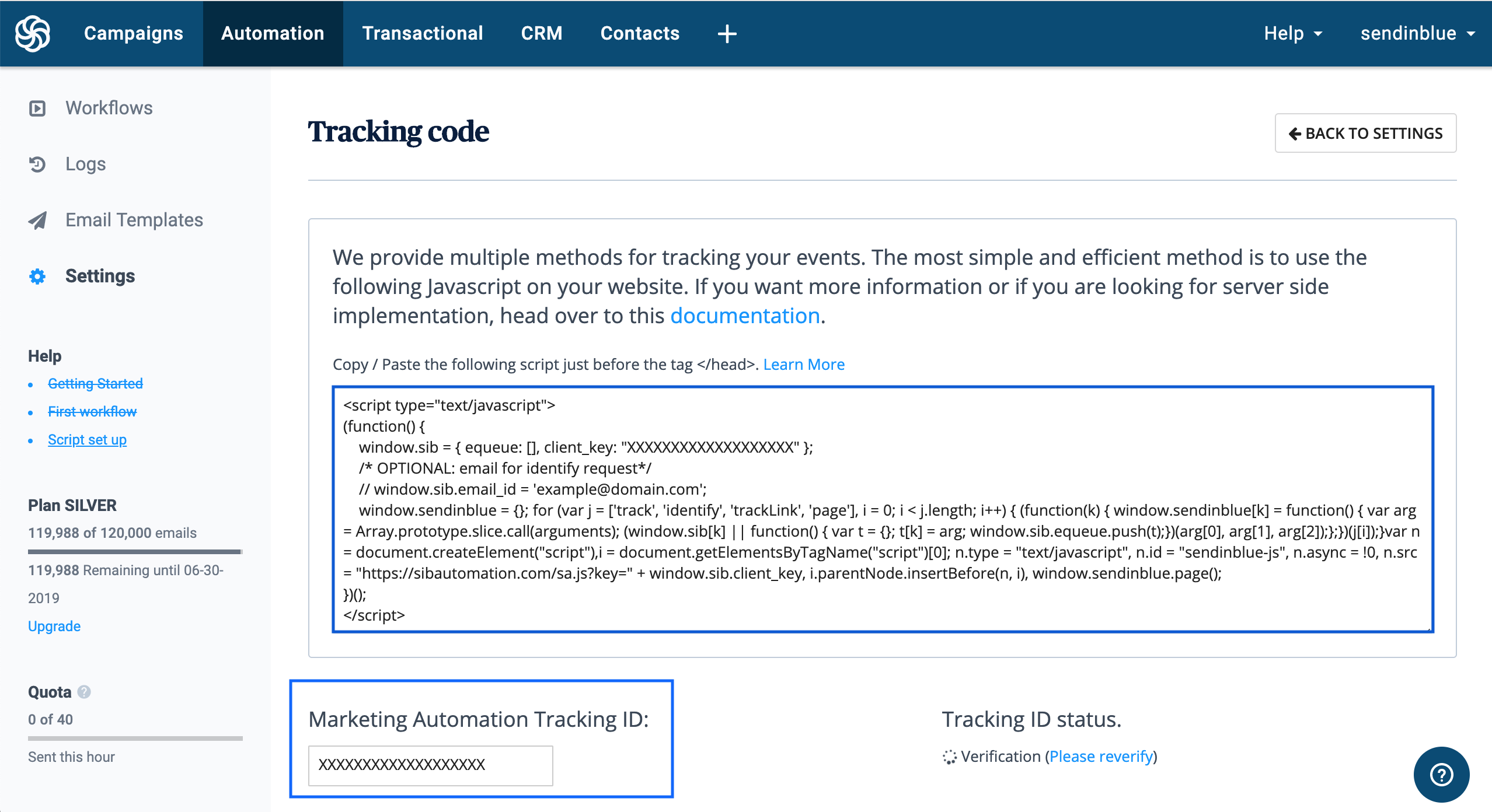 Get your Marketing Automation Tracking ID and Javascript Tracker Code from Automation > Settings > Tracking Code