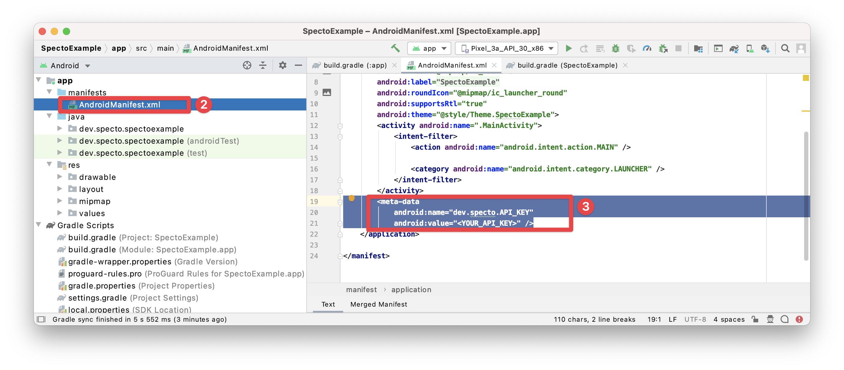 Setting the Specto API key in AndroidManifest.xml (steps 2-3)