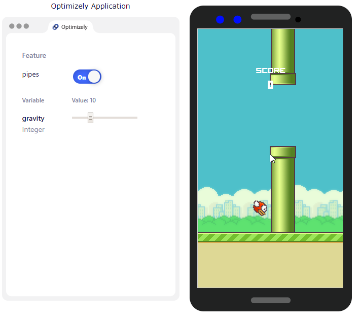 gravity feature variable for Flappy Bird. See [Flappy Bird video game](https://flappy-interactive.onrender.com/)