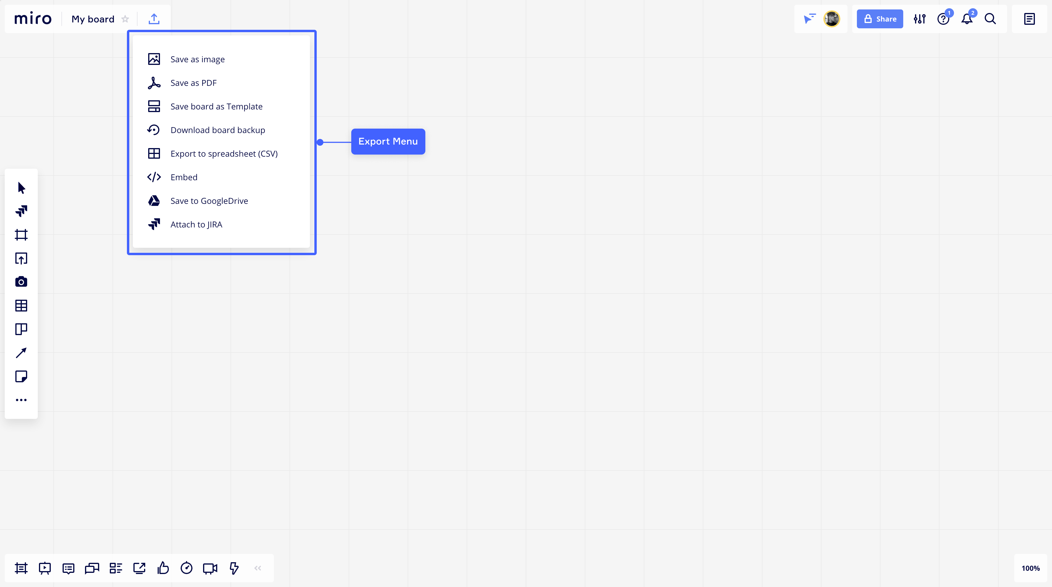 Google Drive is using the ExportMenu extension point to save and export your Miro board to Google Drive.