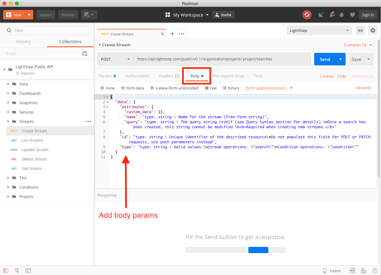 Editing Body Parameters for an API call in Postman.