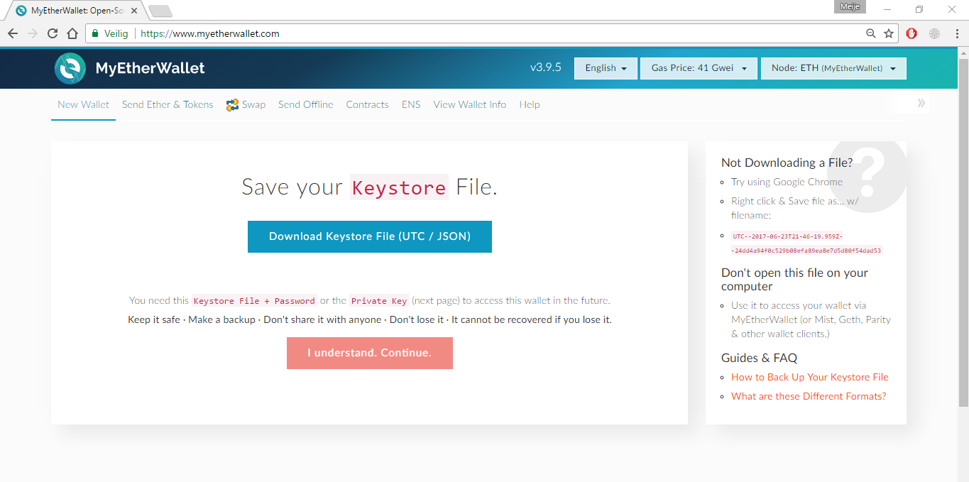 *Figure 2.2. Download the Keystore File (UTC/JSON).*