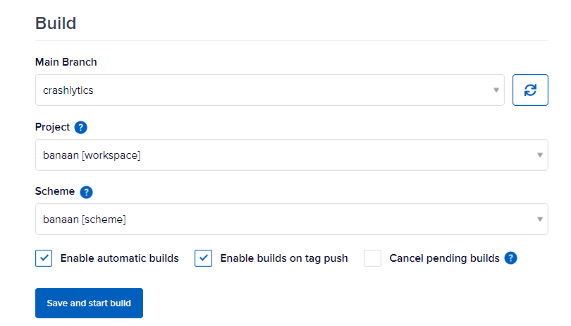Selecting the correct project and scheme in build settings