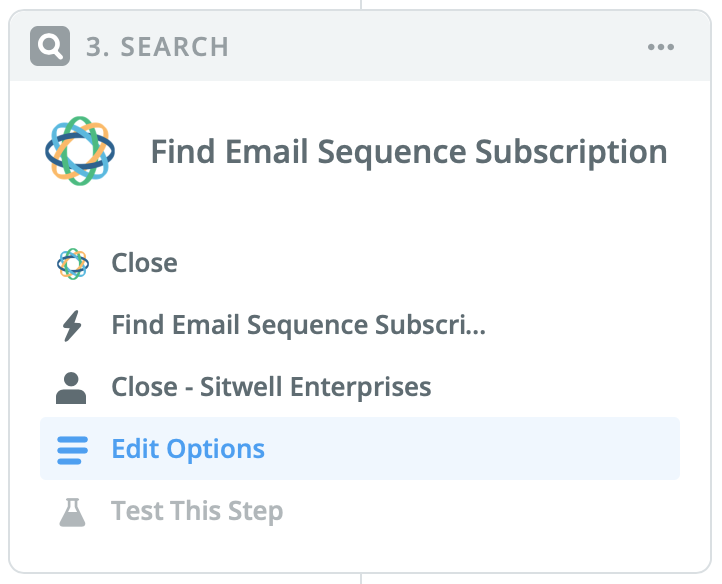 Find Email Sequence Subscription search step in Zapier