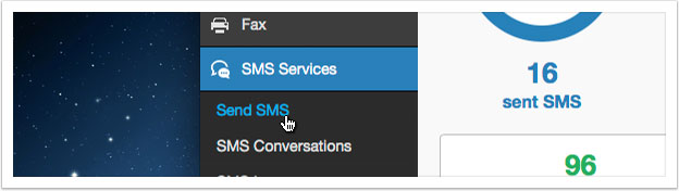 Click the 'Send SMS' link in the left hand menu