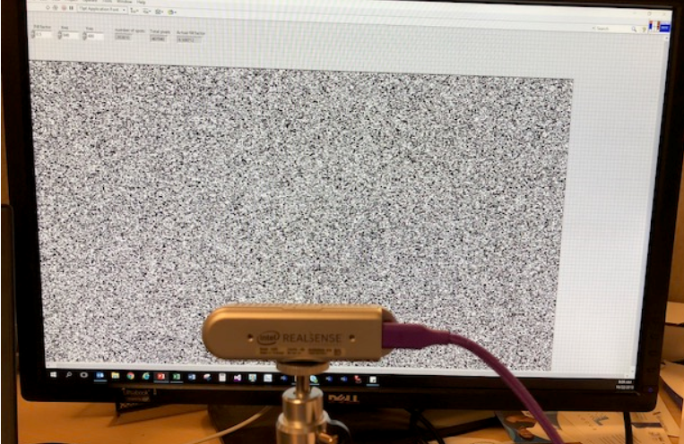 Figure 7. Measurement of Subpixel RMS error as a function of dot density on a TV screen for a D435 camera. In general >10K dots are desirable, with diminishing returns after 30K.