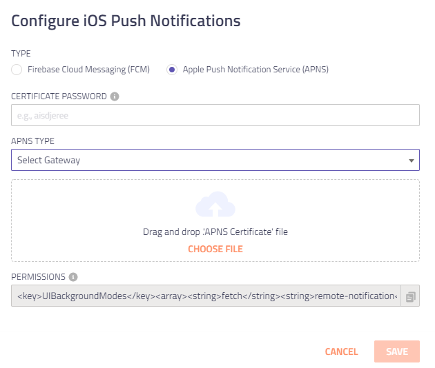 Configure iOS Push Notifications