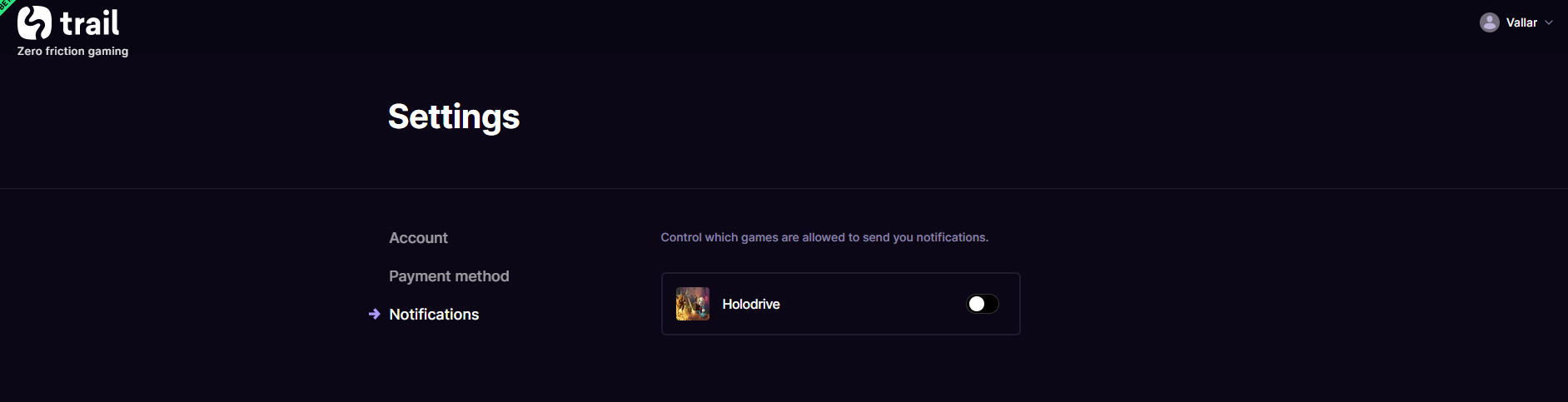Screenshot showing where a player may opt-out or in to get notifications for a certain game.