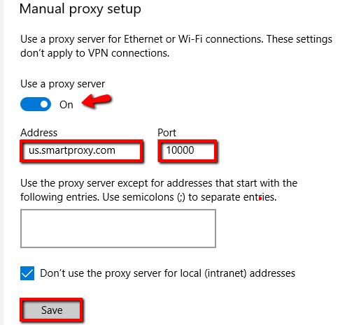 Microsoft Edge proxy setup - manual proxy setup example