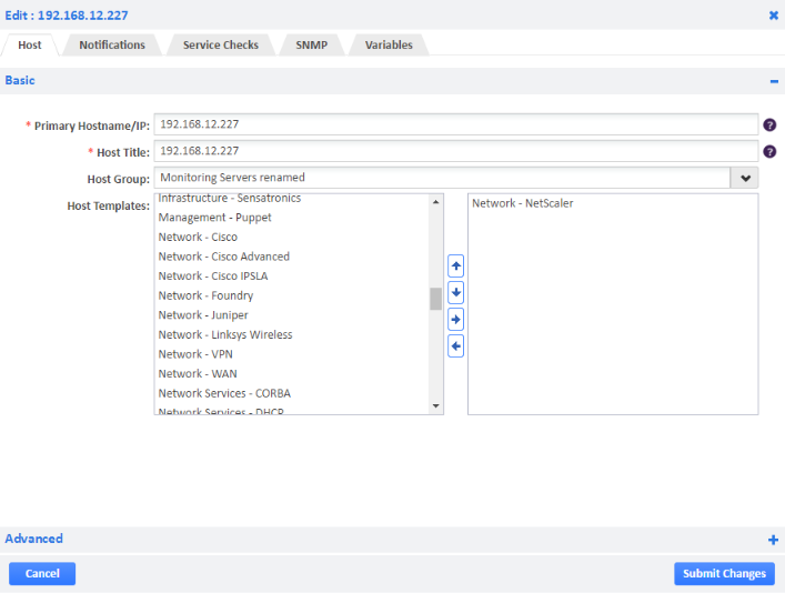 Example of Adding NetScaler Host Template