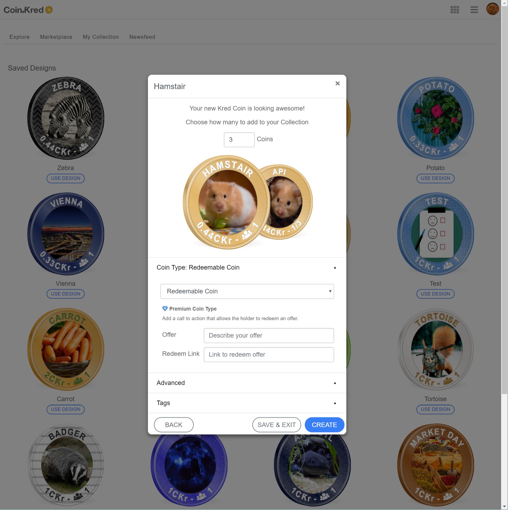 Marketing coin