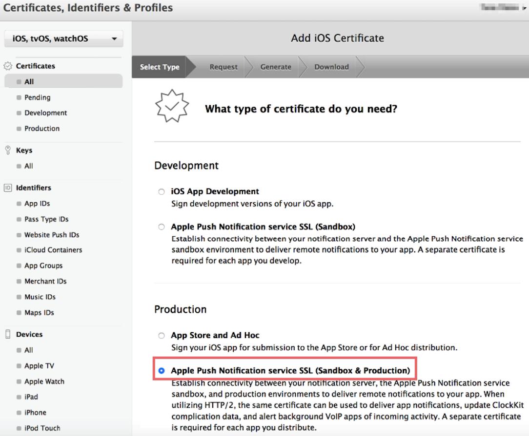 create universal apns sertificate for ios app, step two