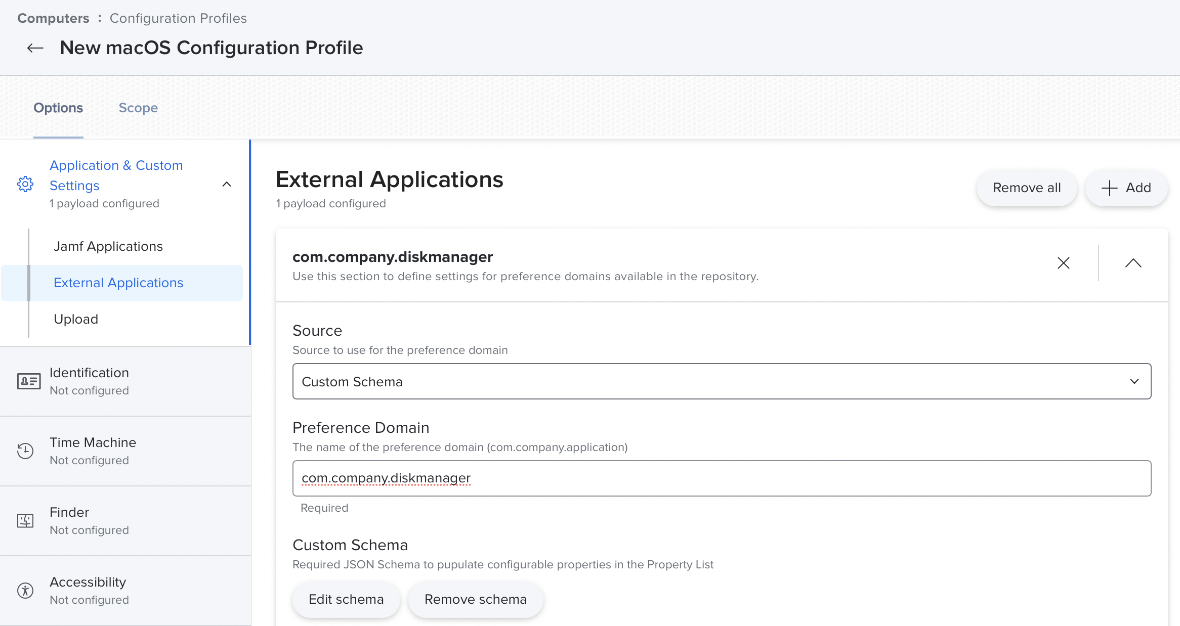 Specify the External Applications preference domain.