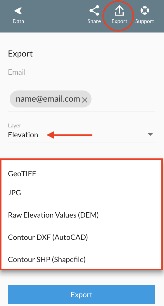 Click on `Export`, select the `Elevation` Layer and choose the right file format that you want to export.
