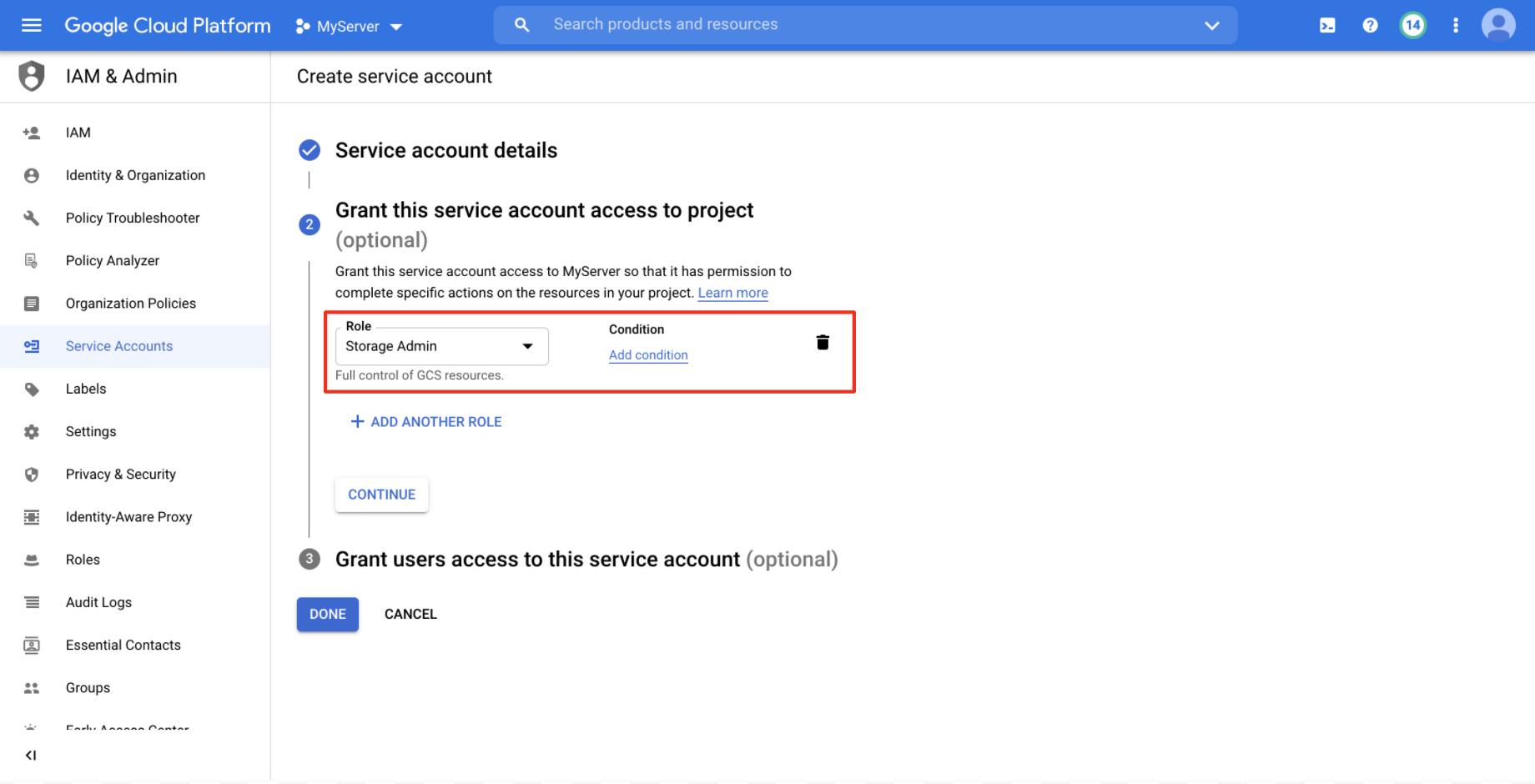 Storage admin permissions