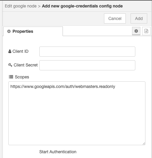 Google node credentials setup